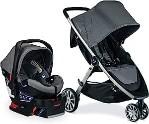 BRITAX B-Lively 旅行系统带 B-Safe 超婴儿汽车座椅,双层冲击保护,新生儿至55 磅(约 24.9 公斤),单手折叠,XL 储物,通风罩,易于操作,灰色