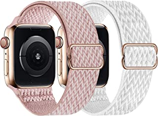 UHKZ 2 件装 Solo Loop 兼容 Apple Watch 表带 38 毫米 40 毫米 42 毫米 44 毫米 尼龙表带 适用于 iWatch 系列 6/SE/5/4/3/2/1