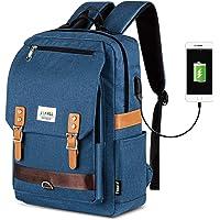 复古笔记本电脑背包女士男士,15.6 英寸中学生大学背包,带 USB 充电端口书包,适合男孩女孩