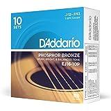 D'Addario EJ15 磷青铜原声吉他弦EJ16-10P 10 件装 Light, 12-53