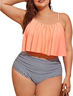 加大码女式泳衣两件套 - 条纹荷叶边,Trajes de Baño Mujer