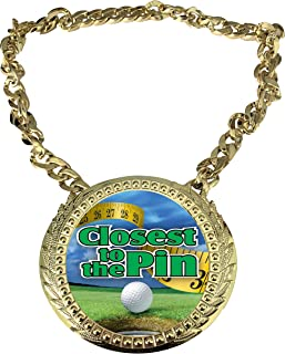 Express Medals Golf Closest To The Pin Champ Chain *杯中心牌匾,尺寸为 15.24 x 13.32 cm,包括一条 86.26 cm 链子和黑色天鹅绒礼品袋。