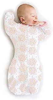 SwaddleDesigns 过渡襁褓袋,半袖和手套袖口 粉红色 Medium (3-6 Month)