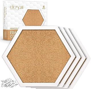 软木板六边形/钻石形状 4 件装白色带框布告板现代装饰软木板,适用于墙壁(含螺钉和模板)