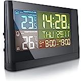 CSL – 气象站,带室外传感器,可折叠投影 – 无线电彩色显示屏 – DCF 无线电时钟 – 多功能无线气象站 温度计…