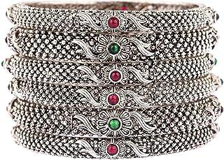Efulgenz 波西米亚部落复古氧化印度珠宝手链手镯套装 适合女士 女孩