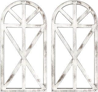 2 件仿古设计质朴木窗框,适用于墙壁装饰,31 x 16 x 1.2 英寸(约 88.9 x 4.4 x 3.1 厘米)拱形窗框,小屋装饰,墙壁装饰,农舍墙壁艺术家居装饰(白色)
