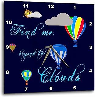 "3dRose Alexis 设计 - 热气球 - 热气球,云朵,太阳,找到我超越蓝色云 - 挂钟 (DPP_272466) 10 x 10"" dpp_272466_1"