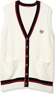 [科诺米] 制服 校服 加入线 马甲 棉 腈纶 棉 上学用 高中生 中学生 学生 学校 毛衣 女士 ARCV-3015 白色×红色 日本