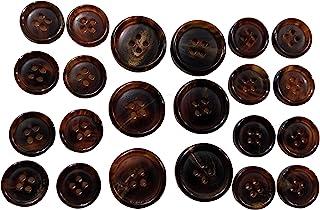 22 件套高级深咖啡棕色水牛角纽扣适用于运动外套、西装外套