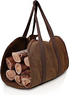 SARHLIO Firewood 木柴收纳包 坚固的蜡帆布火柴手提袋 耐用手柄 壁炉木炉配件收纳袋 适用于室内户外篝火露营烧烤 (BPK01F)