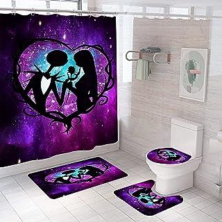 TAWOAO 4 件套 Jack Skellington 淋浴帘套装带防滑地毯,马桶盖和浴室垫万圣节噩梦圣诞节前浴室装饰配件