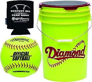 Diamond Sports 官方 Fastpitch 12YSC 垒球带黄色桶 - 18 个球包和杆绝缘罐套