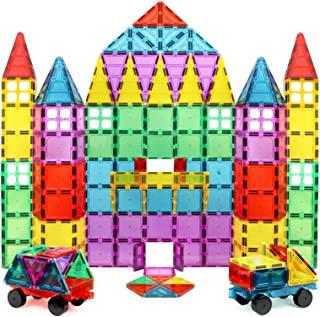 Magnet Build 磁力积木块,超强磁力和耐用的3D磁块,教育,创意,多种形状和鲜艳的色彩(100件)