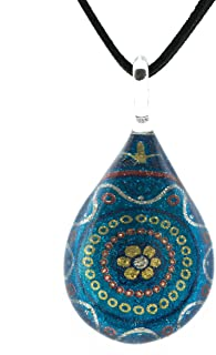 SUVANI 手工吹制威尼斯穆拉诺玻璃花曼陀罗艺术吊坠项链