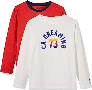 KID Nation 儿童2件装长袖棉质圆领 T 恤男孩女孩均