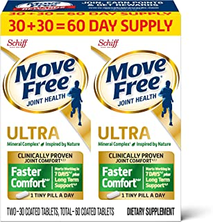 Move Free 益节 Ultra Faster Comfort 关节滋补片 基于钙&果糖硼酸钙,(一瓶60粒),每天经证明服用一小片(包装可能有所不同)
