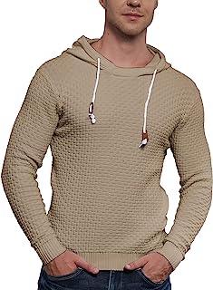 iWoo 男式华夫格针织毛衣抽绳连帽运动衫 长袖针织套头连帽衫