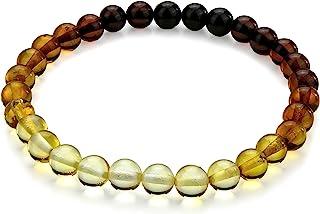 琥珀弹力彩虹手链 - 天然波罗的海多色 6 毫米+ 珠子 - 豪华礼盒 - 琥珀文化