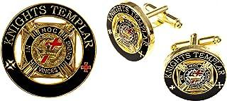 骑士圣殿圆形黑色袖扣翻领别针共济会组合包