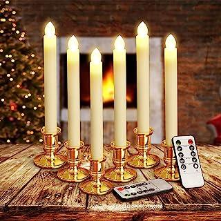 YUNLIGHTS 圣诞节蜡烛灯,6 个装电池供电的无焰锥形蜡烛,带遥控和定时器,适于季节性和节日庆祝,暖白色