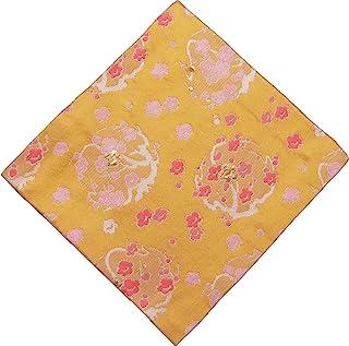 修斋(Syusai) 古帛纱 黄色 尺寸:纵15.6x横15x厚度0.3cm 真丝 梅圆形纹