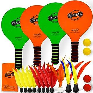 Funsparks 球拍游戏选择双 - 4 个桨 11 只小鸟 4 个球 - 必备球拍游戏 - 室内室外玩具