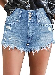 Maolijer 女士中腰弹力短裤折叠下摆磨边做旧牛仔短裤