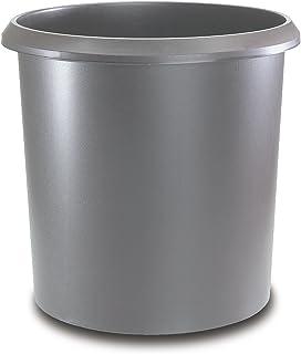 Läufer 26503 Allrounder 废纸篓 18 升 灰色,圆形,带把手的垃圾桶,坚固塑料