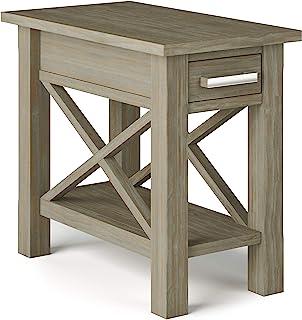 SIMPLIHOME 厨房用实木 14 英寸(约 35.6 厘米)宽矩形现代窄边桌,做旧灰色,带存储空间,1 个抽屉,1 个架子,适用于客厅和卧室