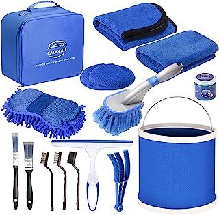 CALBEAU 14 件汽车清洁套件内部外部细节工具套装带可折叠桶、洗海绵、清洁毛巾、蜡垫、轮胎刷,也适用于其他车辆洗涤和家用使用