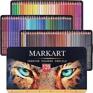 MARKART 120 支彩色铅笔套装,成人着色书,素描,阴影,混合工艺,软芯,专业艺术着色绘画铅笔,适合初学者和专业艺术家使用锡盒