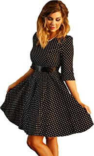 Charm Your Prince 女士黑色 20 世纪 50 年代圆点摇滚乐摇滚风复古连衣裙