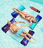2 件装漂浮漂浮浮 - 4 合 1 湖浮带空气泵、多用途泳池浮、泳池吊床、马鞍、摇椅、泳池浮场、泳池漂流、泳池漂浮、成人…
