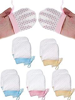 9 双装婴儿网眼棉手套无划痕连指手套,适合 0-6 个月新生男孩女孩,3 种颜色