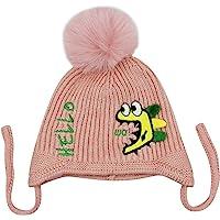 RARITY-US 女童男孩冬季帽子幼儿毛球针织帽婴儿内衬毛绒耳罩冬季保暖帽