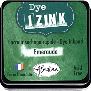 Aladine - Izink DyeEmerald Green 油墨 - 适用于垫和模板的快干墨水 - 剪贴簿和创意Cartery - 法国墨水 - 尺码 M - 5 x 5 厘米 - 翡翠绿