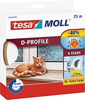 tesamoll D-Profile Seal - 自粘橡胶排水管,用于窗户和门绝缘间隙 - 白色 - 25 米 x 9 毫米