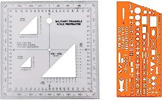 Combo of Military UTM/MGRS 坐标比例 地图阅读和陆地导航地形地图比例、量角器和网格协调读卡器配对,带军事标记符号的指南针和模板