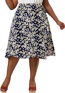 Agnes Orinda 女式加大码 A 字型中长款裙波西米亚风格荷叶边下摆花卉裹身裙