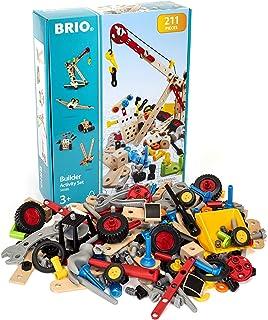 BRIO Builder 34588 - 积木活动套装 - 211 件积木套装 STEM 玩具,带木和塑料件,适合 3 岁及以上儿童(63458800)