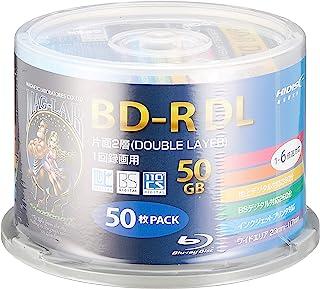 HI-DISC 6倍速对应BD-R DL 50GB 白色打印机可HDBDRDL260RP50 スピンドルケース 50枚