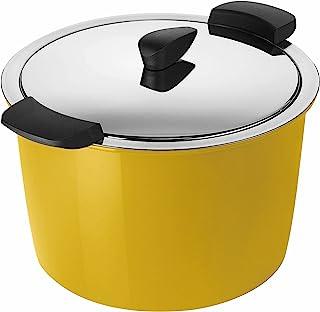 KUHN RIKON 30688 HOTPAN 保温炊具,带盖,黄色,5 升,22 厘米,蒸汽烹饪,保温,可用洗碗机清洗,电磁炉适用,不锈钢。
