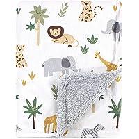 Hudson Baby 哈德逊婴儿中性款婴儿毛绒毯,带羊羔绒背,野生动物图案,均码