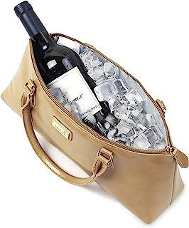 La Soir'ee by SACHI 人造皮革隔热葡萄酒钱包手拿包手提包 | 时尚女式酒袋冷却包 卡其色