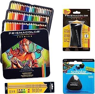 Prismacolor 72 支彩色铅笔、三角形学金笔擦除器、高级铅笔刀和无色搅拌铅笔