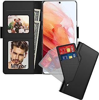 三星 Galaxy S21 5G 手机壳,Galaxy S21 手机壳钱包带卡槽 RFID 屏蔽支架磁性皮革翻盖保护套适用于三星 Galaxy S21 5G 6.2 英寸(带镜子,黑色)