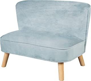 "roba 儿童沙发 ""Lil Sofa"" 适用于男孩和女孩,舒适的儿童沙发,带稳定的木质支脚和天鹅绒面料,颜色天空/浅蓝色,儿童家具系列 ""Lil Sofa"" 适用于儿童房或婴儿房。"