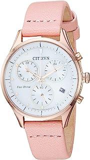 Citizen 西铁城 女士 光动能不锈钢日本石英皮革小牛皮表带 粉色 15 休闲手表 (型号:FB1443-08A)