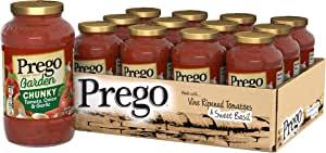 Prego Garden Harvest ChunkyTomato, Onion & Garlic Italian Sauce, 24 Ounce (Pack of 12)